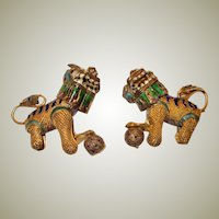 Diminutive Pair of Decorative Chinese Enameled Foo Dogs