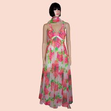 Rose Taft Painterly Floral Printed Gown with Matching Stole