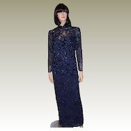 Oleg Cassini Midnight Blue Beaded and Sequined Gown