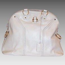 Yves Saint Laurent-Muse White Leather Shoulder Bag
