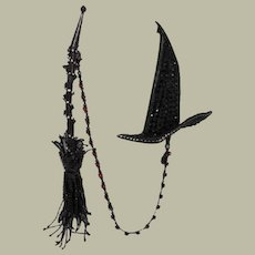 """Vintage Halloween Witch's Hat and Broom, Double Brooch, by David Mandel for """"The Show Must Go On"""""""