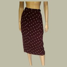 1980's DKNY Brown Silk Printed Skirt