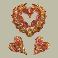 "Over-Sized and Impressive Pink Heart Brooch and Earring Suite by David Mandel, Stamped ""The Show Must Go On"""