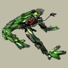 Impressive and Over-Sized Frog Brooch with Butterfly by David Mandel for The Show Must Go On