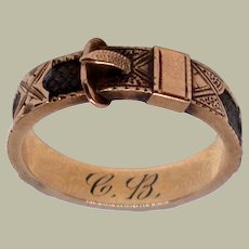Antique Victorian Mourning Buckle Ring with Woven Hair 14K