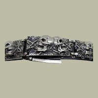 Silver Toned Metal Double Skull Belt