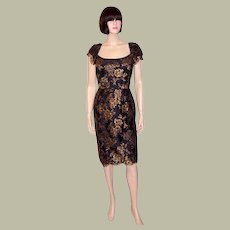 Darby Scott Gold Metallic Embroidered Cocktail Dress