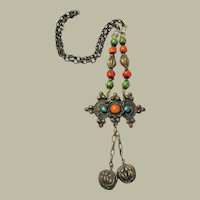 Ethnic Asian (Mongolian) Necklace-Silver-Toned with Turquoise and Coral Beads