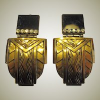 Ermani Bulatti Art Deco Inspired Clip-On Earrings