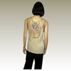 1980's White Beaded Sleeveless Top/Blouse with Jeweled Back Medallion and Cut-Out Back