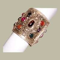 Large Ethnic Cuff with Filigree Work and Semi-Precious Stones (India)