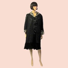 Black Satin Edwardian Coat with Black Lace Overlay