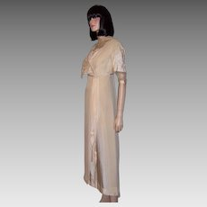 White Silk Edwardian Gown with Napoleonic Revival Influences
