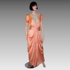 Edwardian (1890-1910) Apricot Charmeuse and Silk Chiffon Gown