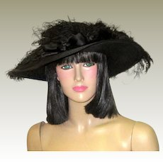 Edwardian Black Straw Hat with Ostrich Plumes and Satin Bow