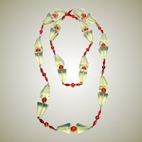 Clear and Red Lucite and Red Chrystal Beaded Necklace, 1980's Vintage