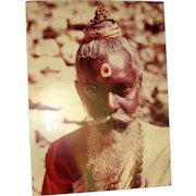 Original Colored Photograph-Ethnographic Portrait of Soulful Hindu Sadhu of India by Bernard Levere