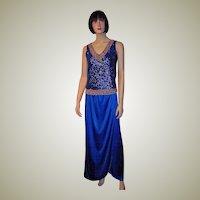 1960's Custom Made Royal Blue Evening Skirt
