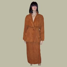 Soft Suede Ochre-Colored Suit