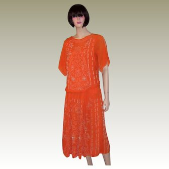 Early 1920's Vivid Orange Gown with White Beadwork Designs