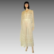 White Edwardian Tea Gown on Netting with Scalloped Embroidery