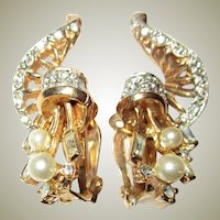 Unusual and Finely Detailed Gold-Toned Earrings with Rhinestones and Faux Pearls