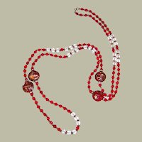 Extra-Long Ruby and Clear Crystal and Ruby Glass Beaded Necklace
