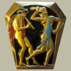 French Art Deco Brooch with Enamel Work by F. Bouillet-Paris