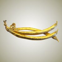 "Impressive Pea Pod Brooch by ""Francois"""