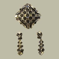 1950's Square Rhinestone Brooch and Earring Set