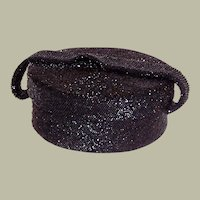 1940's Black Glass Beaded, Hat Box Shaped, Handbag