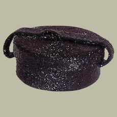 1940's Black Glass Beaded, Hat Box Shaped, Handbag
