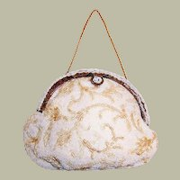 "1950's ""Jolies Original"" Hand-Crafted White Seed Beaded Purse"