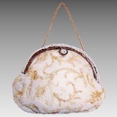 """1950's """"Jolies Original"""" Hand-Crafted White Seed Beaded Purse"""