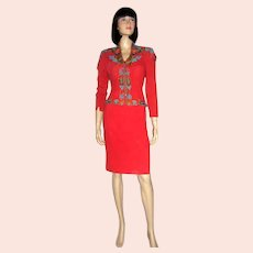 """1940's Tomato Red, Multi-Colored Beaded Suit by """"Velma's-Miami Beach-Long Island"""""""