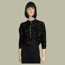 1950's Black Sequined Evening Sweater/Cardigan