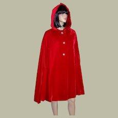 1950's Vintage, Cherry Red Velvet Hooded Evening Cape