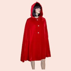 1950's Vintage, Cherry Red Velvet Hooded Evening Cape