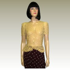 1930's Ecru Lace Crocheted Short Sleeved Top/Blouse