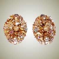 Large Pair of Filigree Clip-On Earrings with Faux Pearls