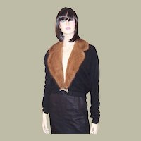 1950's Black Evening Sweater with Mink Collar