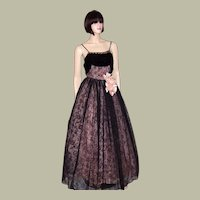 Superb, 1930's Vintage, Pink and Black Flocked Ball Gown