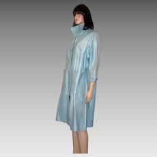 Fabulous 1950's Pale Baby Blue Pearlized Leather Coat