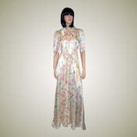 1940's Floor Length Printed Peignoir