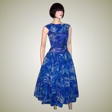 1950's Cobalt Blue and Turquoise Floral Printed Cocktail Dress