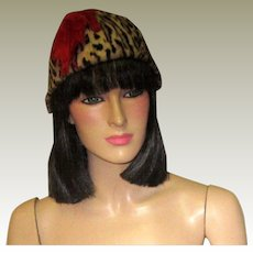 1950's Faux Leopard Print Hat/Chapeau with Red Feathers
