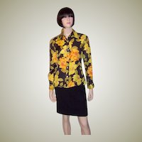 Franck Olivier-Paris, France-Floral Printed Silk Blouse