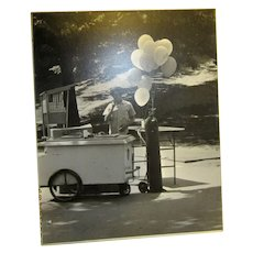 Original 1970's Black and White Photo of Vendor in Central Park N.Y.C., N.Y. by Franklin Acker