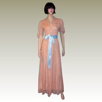 1940's Pink Lace Peignoir with Pale Blue Accents