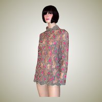 Pink and Teal Green Silk Ribbon Blouse on Mocha Lace
